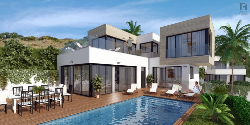 Brand new contemporary villas in the Mijas area at prices from 399,000 Euros